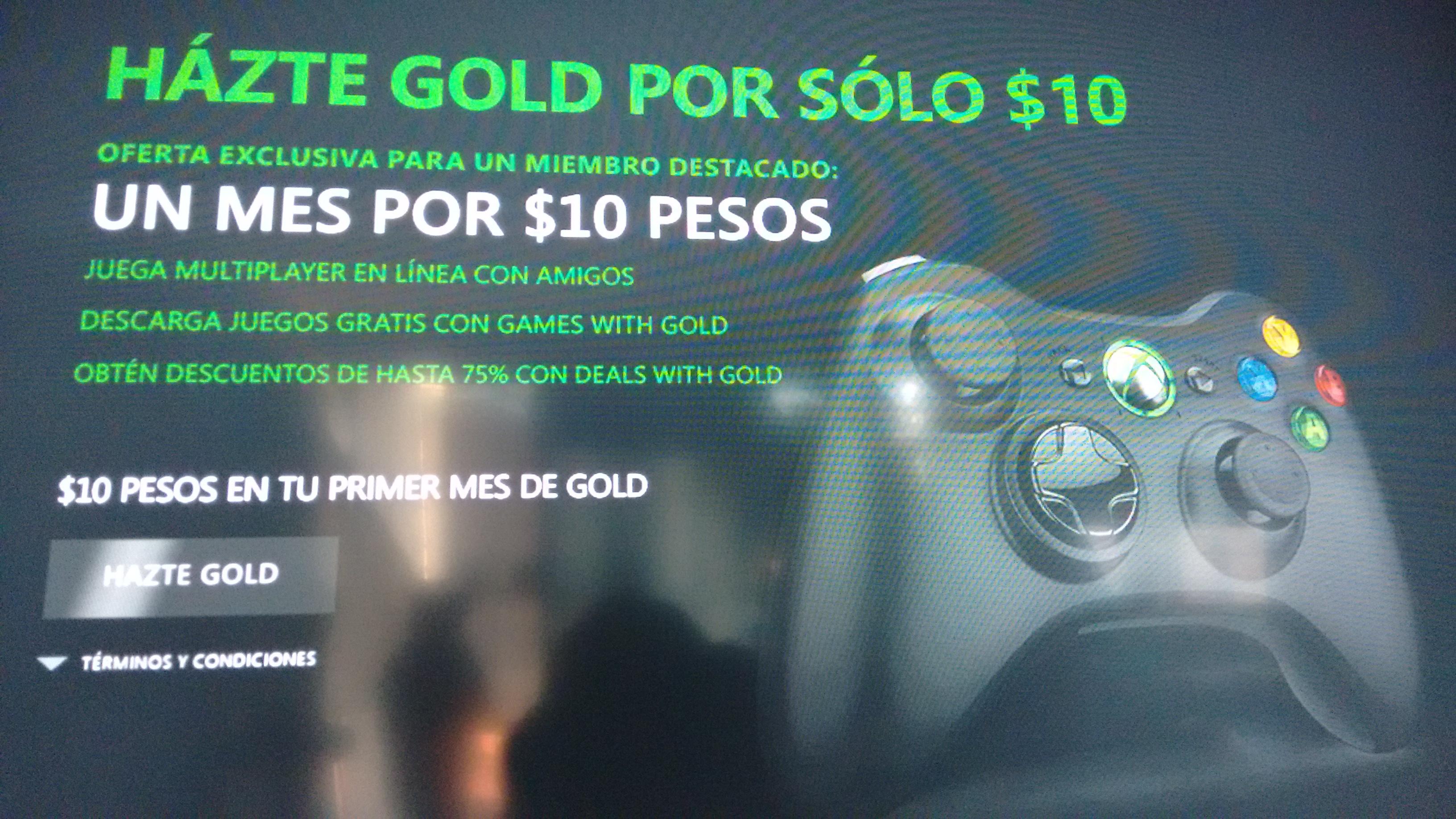 1 mes de xbox live gold por $10