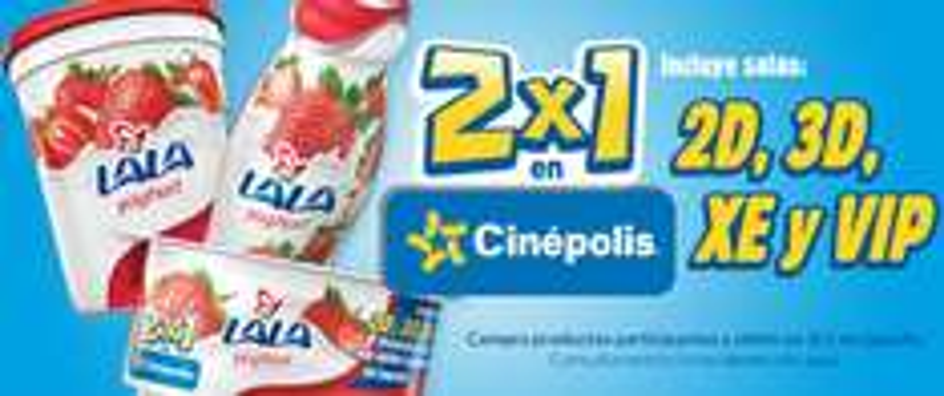 Cinépolis: 2x1 en salas normales, 3D, VIP y XE comprando yoghurt LALA