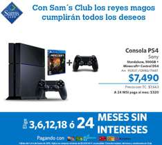 Sam's Club: PS4 con Minecraft y control extra $7,490 ($7,265 y 24 MSI con Banco Walmart)