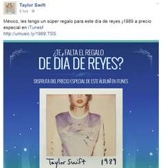 iTunes: Disco de Taylor Swift (1989) a $80 pesos.