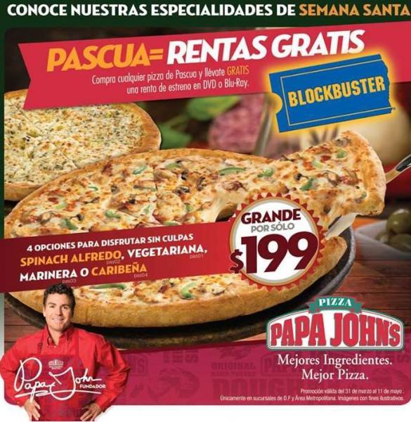 Papa John's: renta gratis o 2x1 en Blockbuster con compra