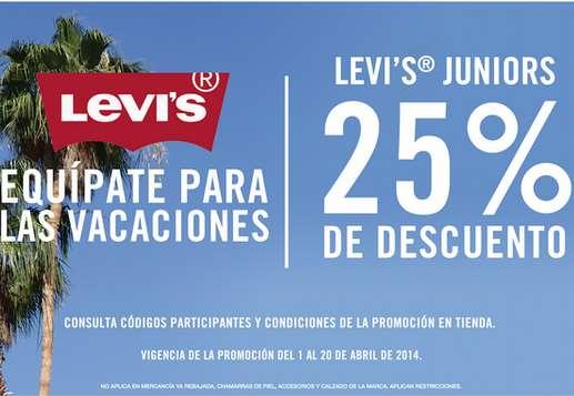 Levi's: 25% de descuento en boutiques y en tiendas departamentales