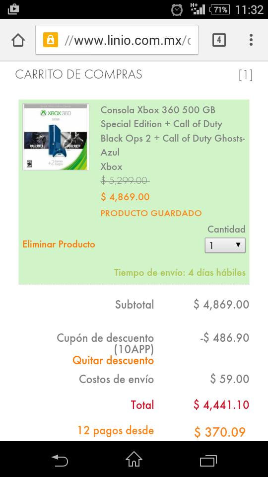 Linio: Consola xbox 360 de 500gb azul con COD Ghosts y COD Black Ops 2 $4,441