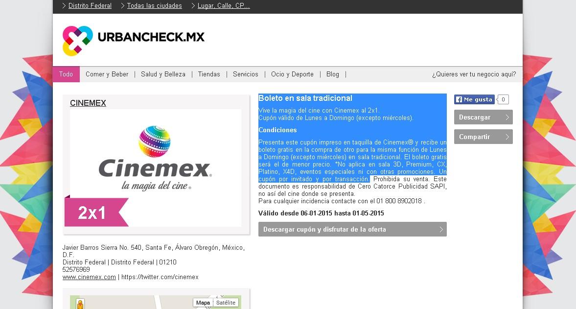 Urbancheck: cupón 2x1 en Cinemex Lunes a Domingo válido hasta el 1º de Mayo