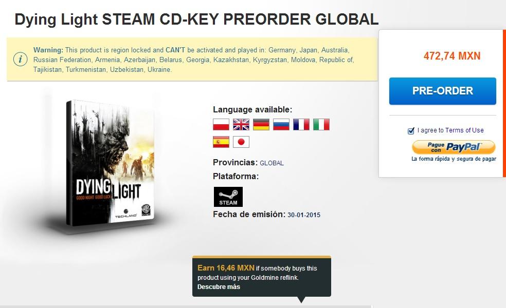 G2A: preventa juego Dying Light para PC (llave Steam) $473