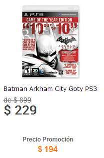 Liverpool: Batman Arkham City GOTY $195 y Arkham Origins $424