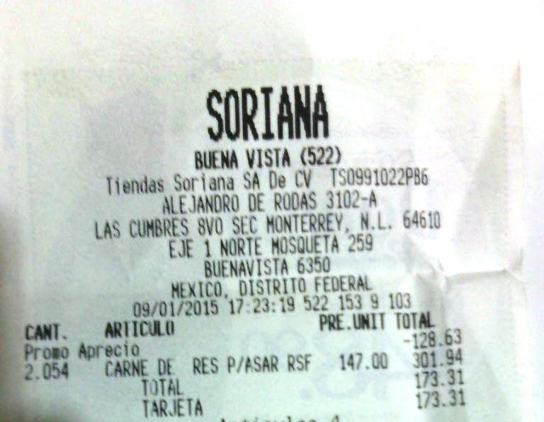 Soriana : Carne para Asar a $ 84.50 x Kg (Precio Regular : 147.00) Solo 09-Ene-2015