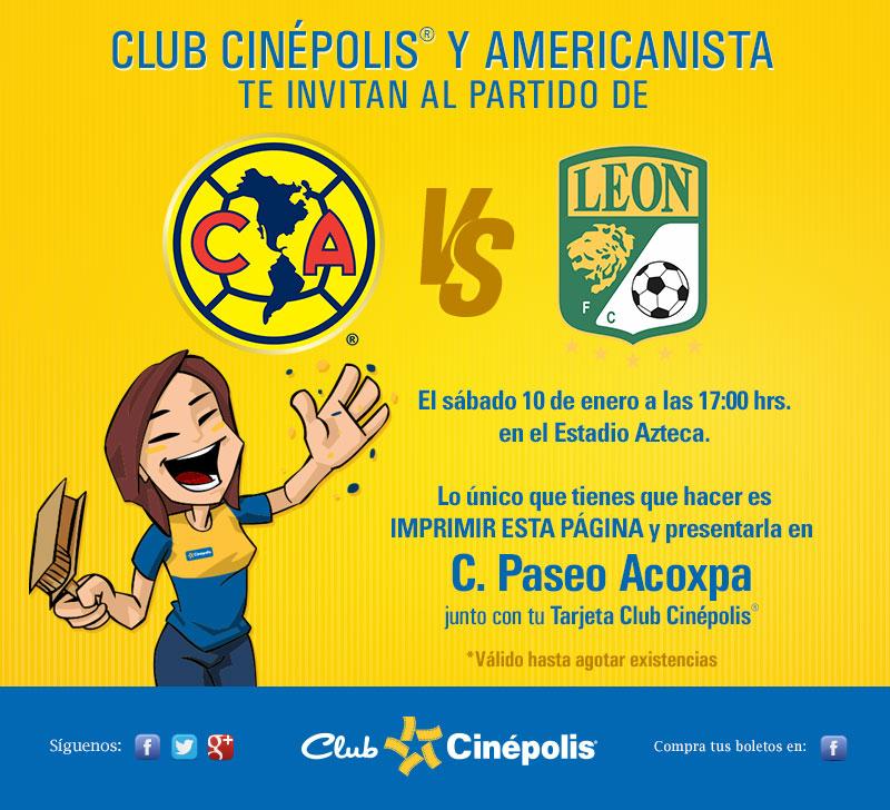 Club Cinépolis: boletos gratis para el partido América vs León