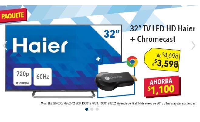 "Best Buy: pantalla LED 32"" + Chromecast $3,598"