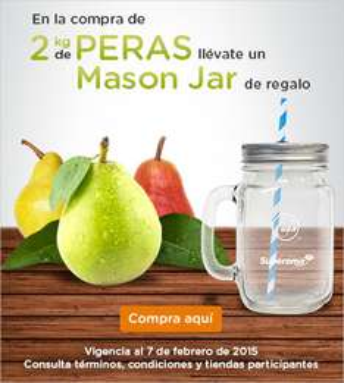 Superama: Mason Jar gratis comprando 2 kg de peras