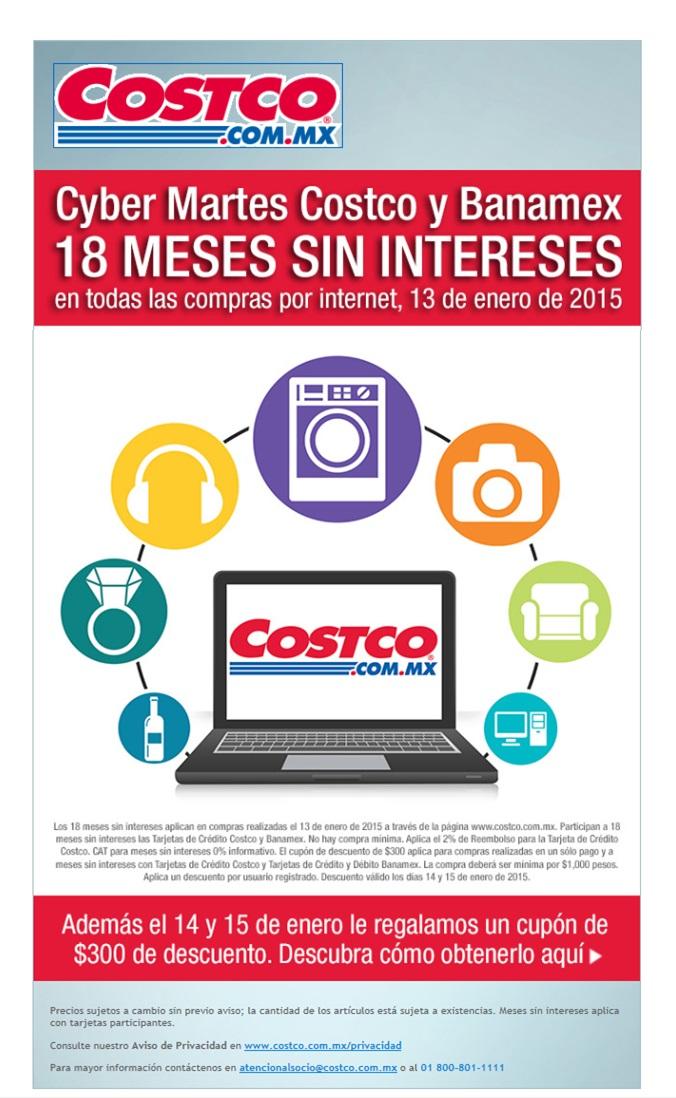Cyber M@rtes 18 MSI con Tarjetas Costco y Banamex + regalo de $300, sólo por internet