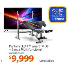 "Walmart: TV LG 47"" 1080P SMART TV + Banca Multifuncional PRO Athletic Works"