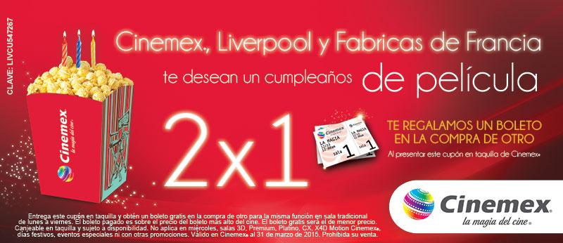 Cinemex: 2x1 en sala tradicional presentando cupón
