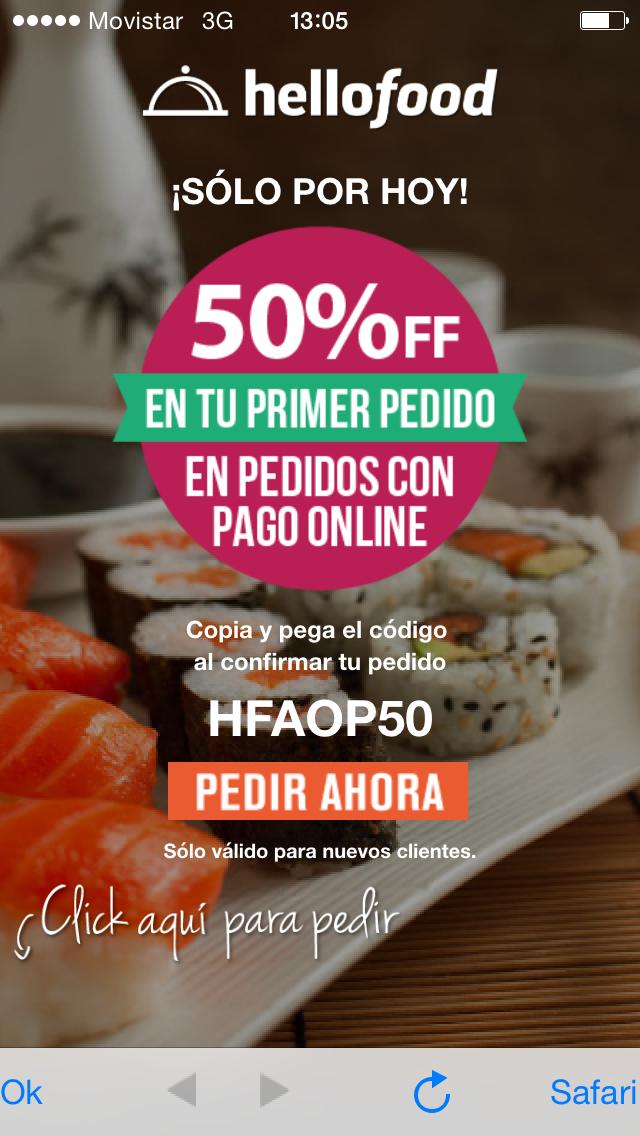 Hellofood: 50% de descuento en primer pedido
