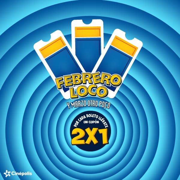 Cinépolis febrero loco 2015: cupón 2x1 al comprar boletos