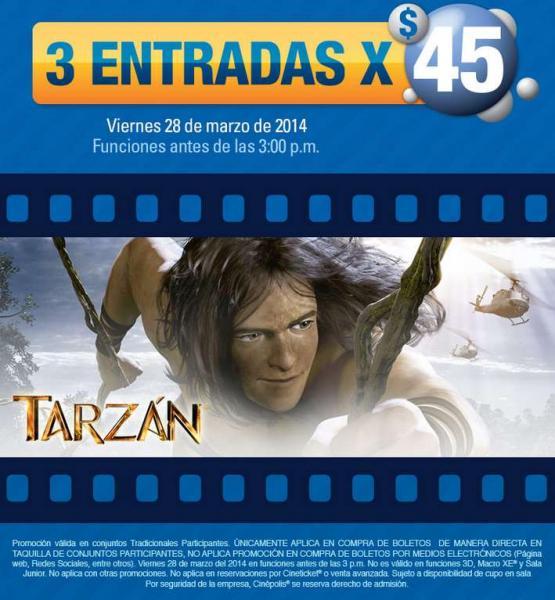 Cinépolis: 3 entradas por $45 para ver Tarzán solo mañana