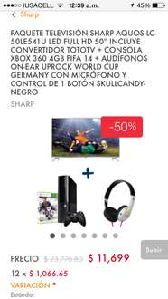 Linio: Tv sharp 50 + xbox 360 + skullkandy + toto tv