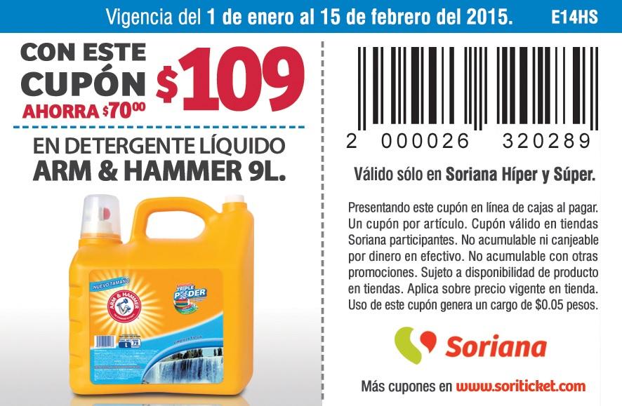 Soriana: cupón para detergente líquido Arm & Hammer 9 litros a $109