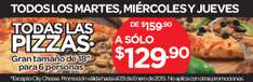 "City Club: Pizza 18"" (para 6 personas) $130 de martes a jueves"