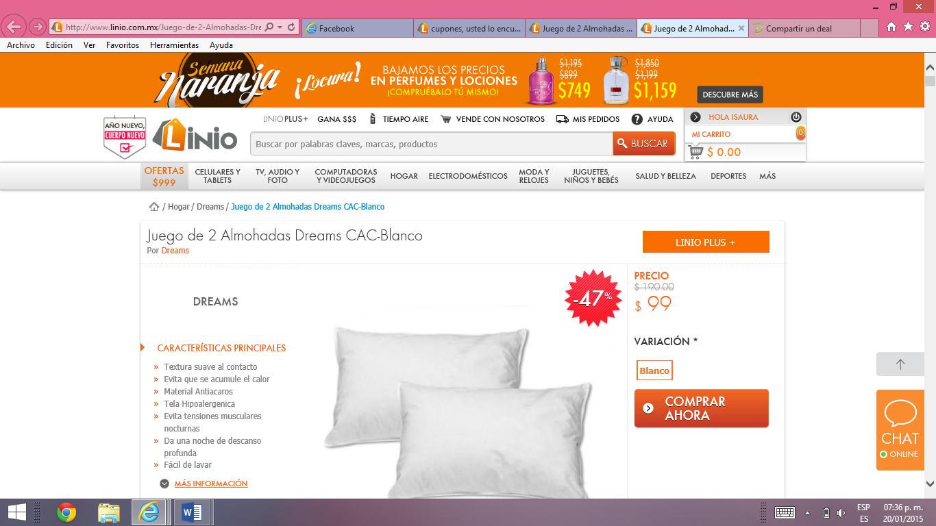 Linio: paquete de 2 almohadas $9 + envío sólo clientes nuevos