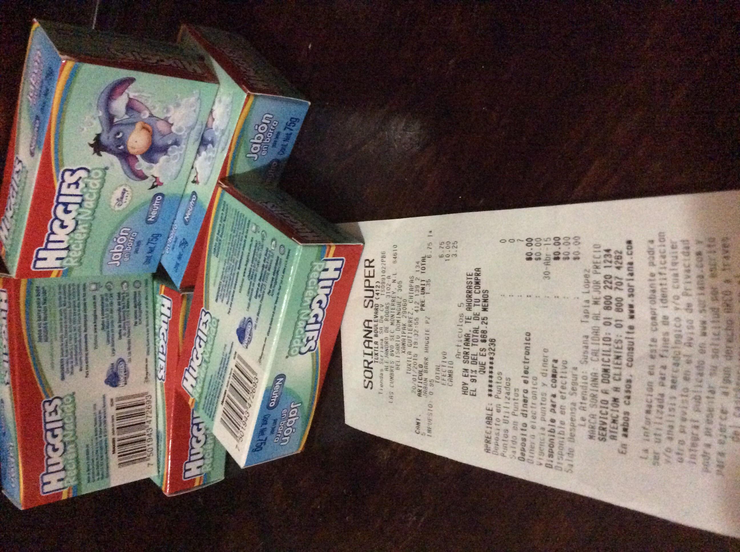 Soriana: Jabón Huggies Recién Nacido Neutro 75gr $1.35