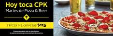 Martes Todas las Pizzas en California Pizza Kitchen $115 o 3 Medias Yardas de Cerveza