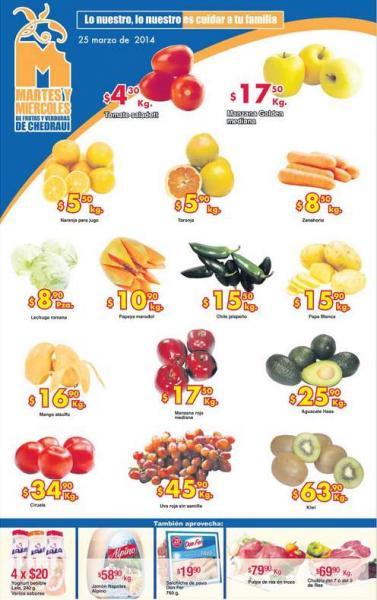Ofertas de frutas y verduras en Chedraui 25 y 26 de marzo