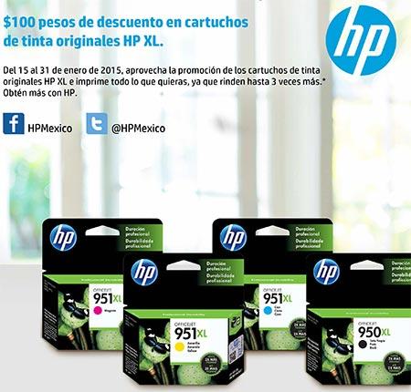 HP: Cartuchos XL con 100 pesos de descuento