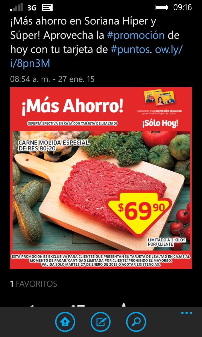 Soriana carne de res molida 80-20 a 69