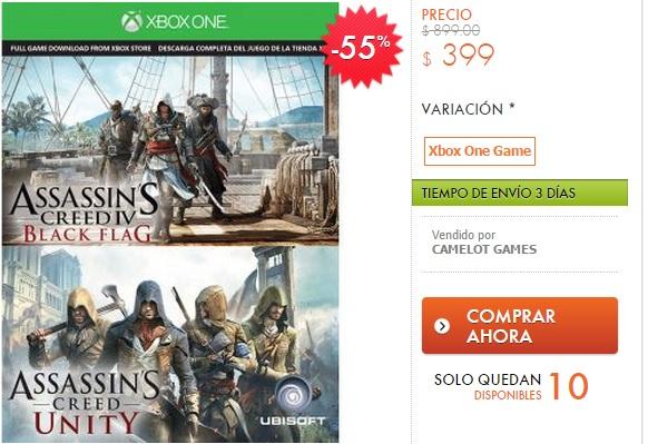 Linio: Tarjeta de descarga para Assassin's Creed Unity y Black Flag Xbox One $399