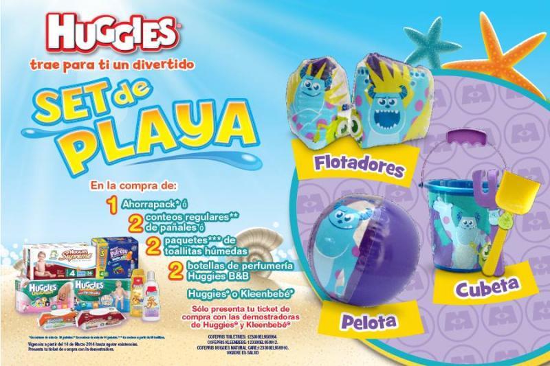 Huggies y Kleenbebé: set de playa de Monster Inc comprando pañales o toallitas