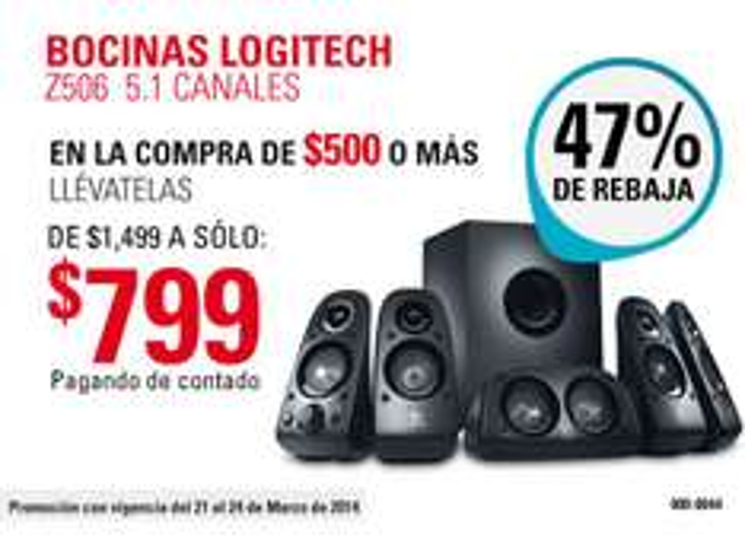 RadioShack: bocinas Logitech Z506 5.1 canales $799 con compra mínima