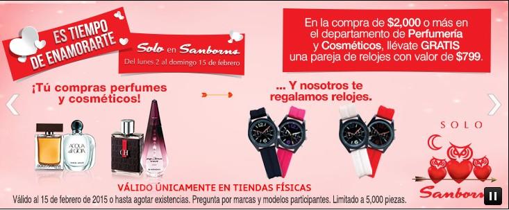 Sanborns: en la compra de $2000 en perfumería y cosméticos de regalo un par de relojes con valor de $799
