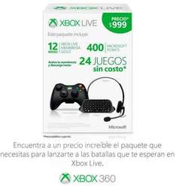 Control inalámbrico Xbox 360, suscripción Xbox Live Gold, 400 MP y chatpad $849 o menos