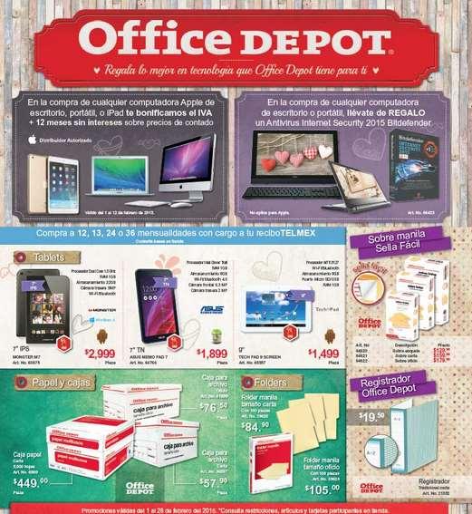 Folleto de promociones en Office Depot en febrero