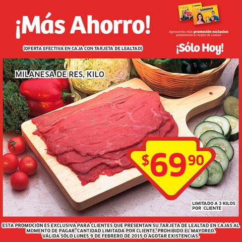 Soriana: Milanesa de res  $69.90 el kilo