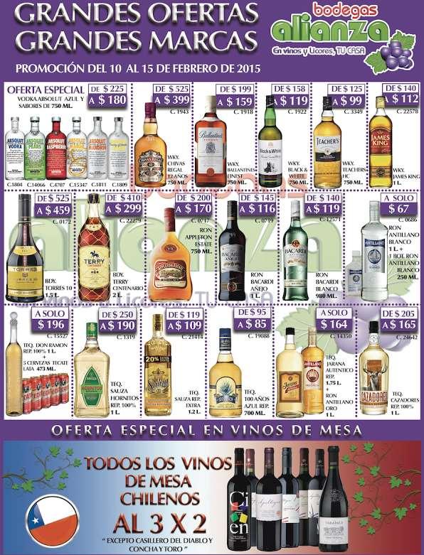 Bodegas Alianza: whisky Chivas Regal $399, brandy Terry Centario 2L $299 y 3x2 en vinos chilenos