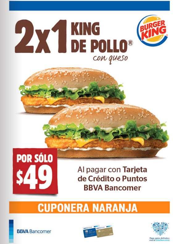 Burger King: 2x1 en King de pollo pagando con Bancomer