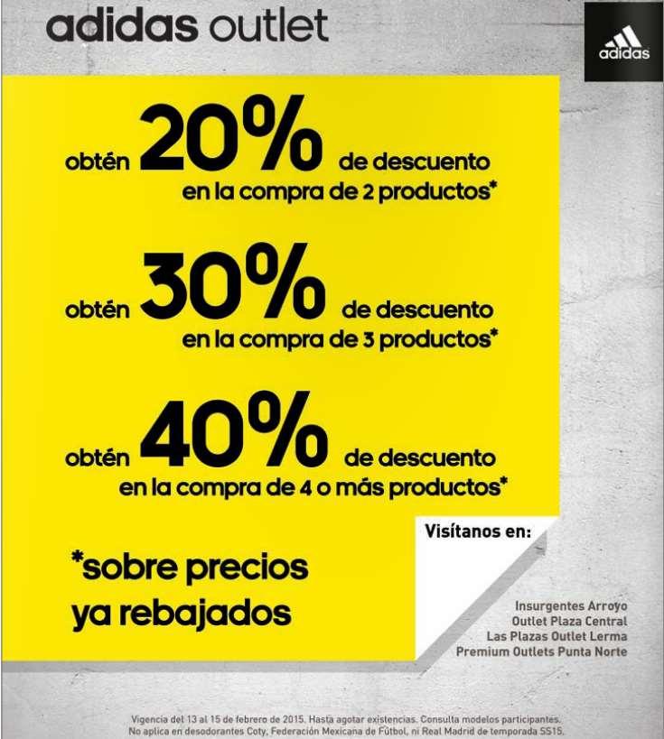 Adidas outlet: descuento escalonado del 20 al 40%