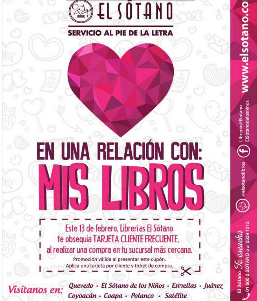 Librerías El Sótano promoción San Valentín: tarjeta Cliente Frecuente gratis con cualquier compra