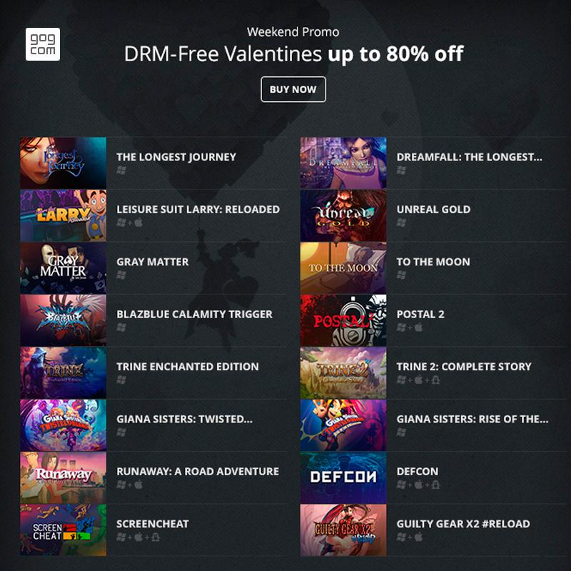 GOG - DRM-Free Valentines (Descuentos de hasta 80%)