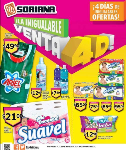 Folleto de ofertas en Soriana del 14 al 20 de marzo