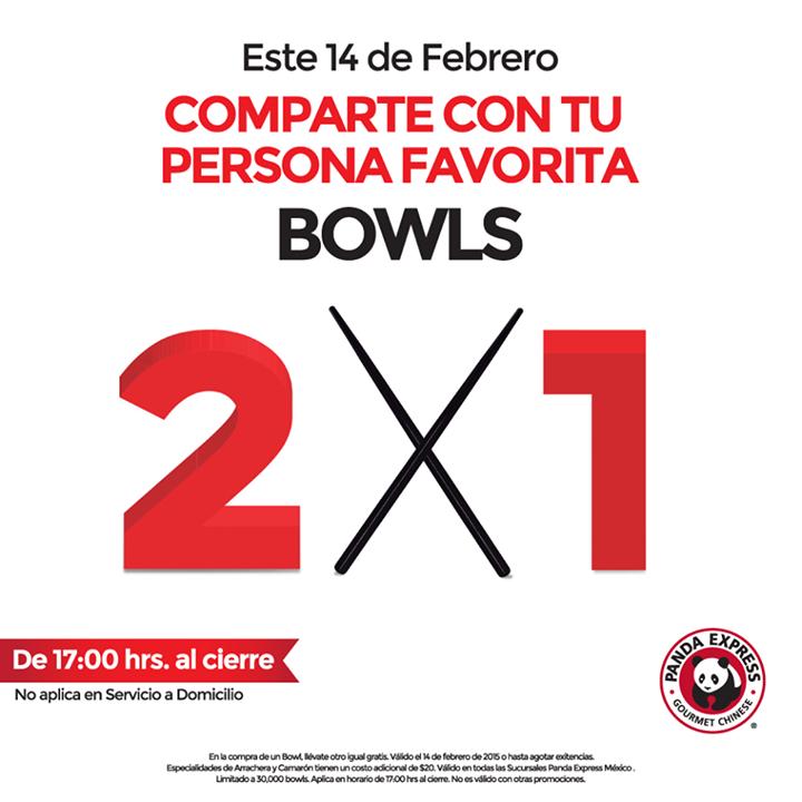 Panda Express promoción del 14 de febrero: 2x1 en bowls después de las 5