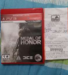 Chedraui: Videojuego medal of honor PS3 $130