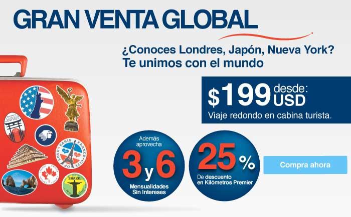 Aeroméxico gran venta global: vuelos redondos internacionales desde US$199 y más