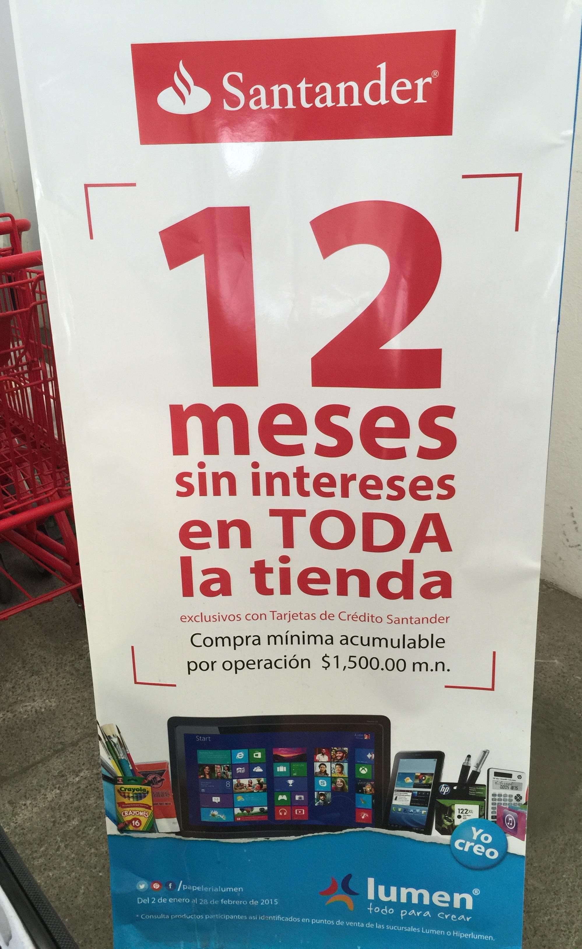 Toda la tienda Lumen 12 meses sin intereses con Santander