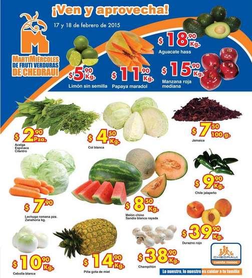 Ofertas de frutas y verduras en Chedraui 17 y 18 de febrero
