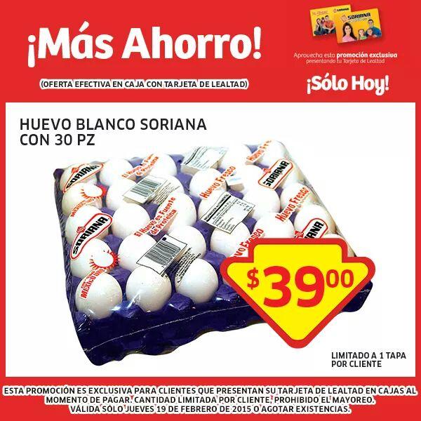 Soriana: Huevo blanco 30pzs por $39