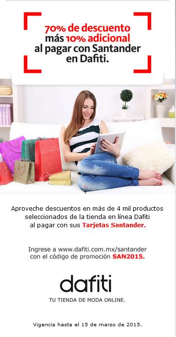 Dafiti: Cupon de 10% al pagar con tarjeta de credito Santander