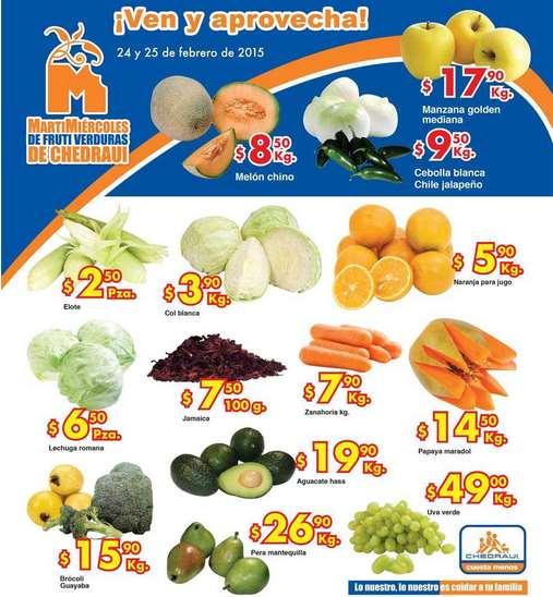 Ofertas de frutas y verduras en Chedraui 24 y 25 de febrero